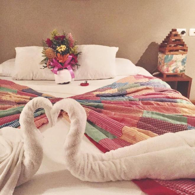 What honeymoon would be complete without towel animals?! The bouquet of freshly picked flowers was amazing.