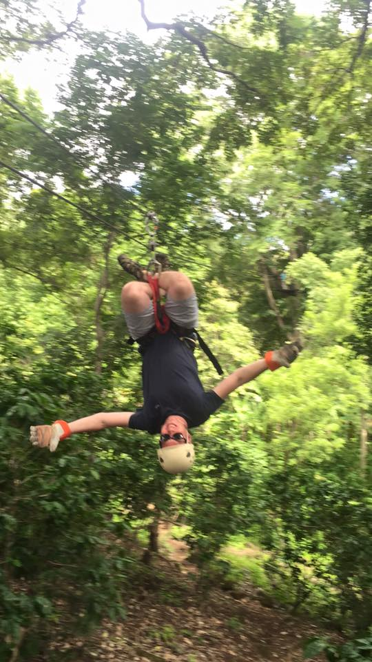 Going down the zip line upside down was fun, but a little bit painful on our hips.